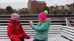 Two sisters go on tourist boat on Vistula River Stock Footage