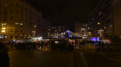 People walking on stairs in Szent Istvan Square on Christmas in Budapest Stock Footage
