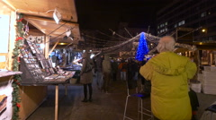 People having a good time in Szent Istvan Square on Christmas in Budapest Stock Footage