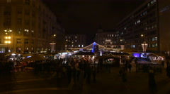 Many people walking in Szent Istvan Square on Christmas in Budapest Stock Footage