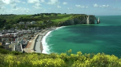 White cliffs high viewpoint beach town cove Stock Footage