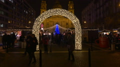 Beautiful lighten arch in Szent Istvan Square on Christmas in Budapest - stock footage