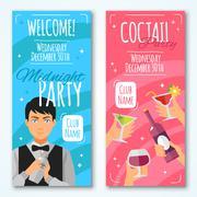 Cocktail Invitations Design Set Stock Illustration