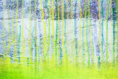 Dripping paints on green canvas background Stock Illustration