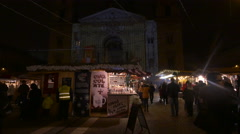 Hot chocolate stall and projections on Saint Stephen Basilica, Budapest Stock Footage