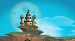 Loop animation fantasy castle on floating island with timelapse with giant moon Stock Footage