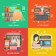 Library concept set Stock Illustration