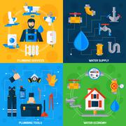 Stock Illustration of Plumber Service 4 Flat Icons Square