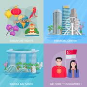 Singapore Culture 4 Flat Icons Square Stock Illustration