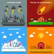 Disaster Concept 4 Flat Icons Square Banner Stock Illustration