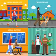 Disabled Concept 4 Flat Icons Square - stock illustration