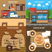 Coffee Concept 4 Flat Icons Square - stock illustration
