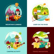 Camping Design Concept Banner - stock illustration