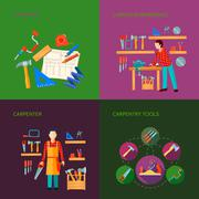 Carpentry Flat Icons Set Stock Illustration