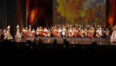 National Russian dance on concert hall stage, folk music performance Stock Footage