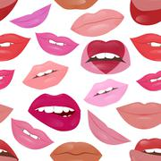 Glamour lips pattern with different lipstick colors - stock illustration