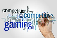 Competitive gaming word cloud Stock Photos