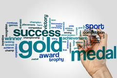 Gold medal word cloud Stock Photos