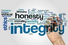Integrity word cloud Stock Photos