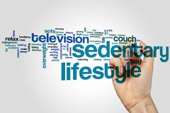Sedentary lifestyle word cloud Stock Photos