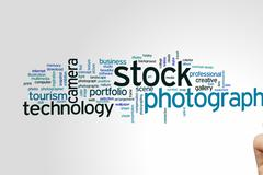 Stock photography word cloud - stock photo