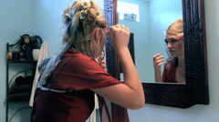 Teen Girl Primping In Mirror Getting Ready For Prom Stock Footage