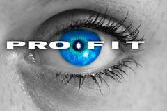 Profit eye looks at viewer concept macro Stock Photos