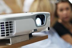 digital projector at the presentation close-up - stock photo