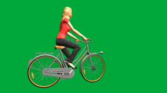 Pretty Blond Riding a Bike (Green Screen): Loop + Matte - stock footage