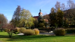 Jonsdorf Park and church Stock Footage