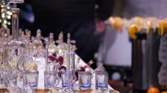Glass souvenirs at the Christmas market in Budapest Stock Footage