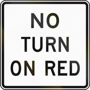 United States MUTCD regulatory road sign - No turn on red Stock Illustration