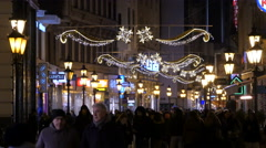 View of Fashion Street crowded on Christmas in Budapest Stock Footage