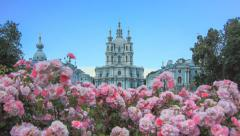 Flowers in front of Smolny Cathedral in St. Petersburg Stock Footage