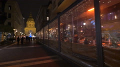 Tourists and locals walking on Zriny street on Christmas in Budapest Stock Footage