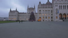 People taking pictures of the Christmas tree in front of Budapest Parliament Stock Footage