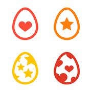 Icon set of colored Easter eggs Holiday icon vector - stock illustration