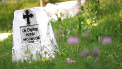 White stone crosses in a cemetery of unknown heroes and pink flowers Stock Footage