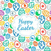 Happy Easter greeting card background color of the eggs seamless pattern Stock Illustration