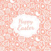 Happy Easter greeting card background color of the eggs seamless pattern - stock illustration