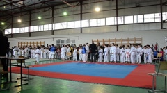Karateka teams gathered in a hall to participate in a contest Stock Footage