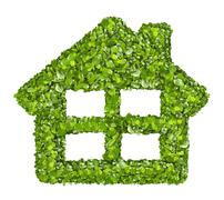 Grass home icon from grass background, isolated - stock photo