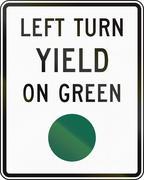 United States MUTCD regulatory road sign - Left turn yield on green - stock illustration