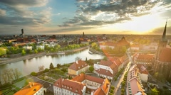 Old Town Timelapse Wroclaw City in Poland Sunset Moving Clouds Stock Footage