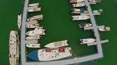 Aerial View of boats moored in harbor, Dubai, UAE - stock footage
