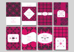 Set of the ornamental card templates. - stock illustration