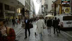 People shopping at Ermou commercial district Athens Greece slow motion Stock Footage