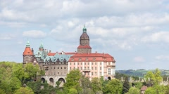 Medieval Castle Ksiaz Poland Lower Silesia Walbrzych Moving Clouds Stock Footage