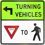 United States MUTCD road sign - Turning vehicles yield to pedestrians - stock illustration