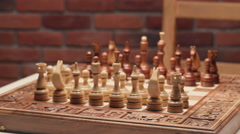 Overview on a chessboard. Close up. Slider shoot. Stock Footage